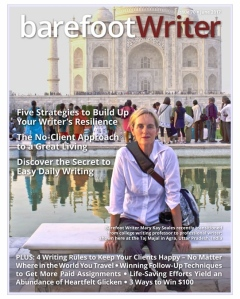 MK on Cover of Barefoot Writer Magazine June 2017